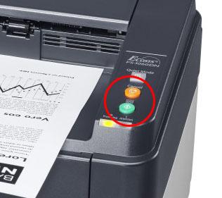Нажать и удерживать несколько секунд кнопки «Старт» (зеленая) и «Стоп» (красная)